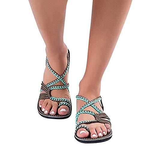 Sandalias Mujer cómodos Plataformas Plana Cuerda