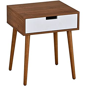 "Light Walnut/White Side End Table Nighstand with Drawer 22.5"" H"
