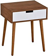 Light Walnut/White Side End Table Nighstand with Drawer 22.5H