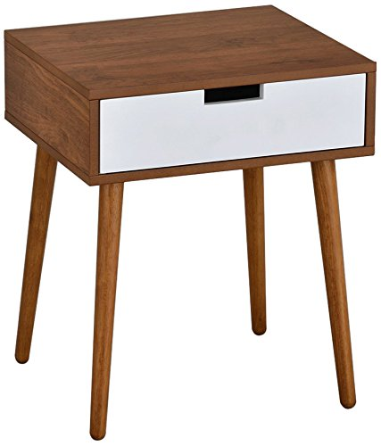 eHomeProducts Light Walnut/White Nightstand