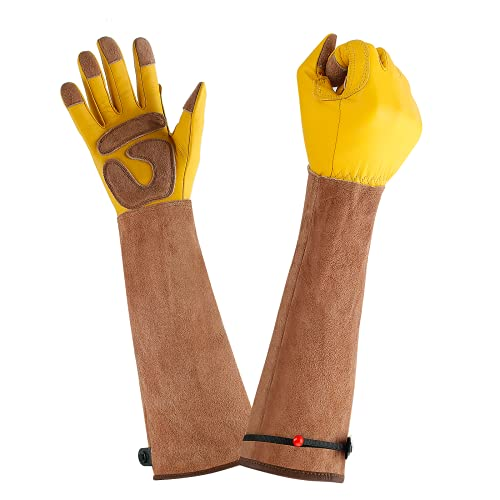 Airneer Leather Gardening Gloves Long Flexible & Comfortable with Ergonomic Design Fully Protection Work Gloves for Yard Work Pruning Cactus Rose Weeding Unisexual Yellow (Medium)