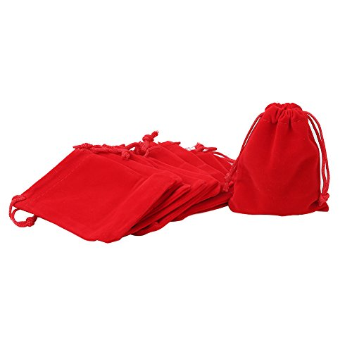"""Shintop 10 Pack Velvet Drawstring Bags for Christmas Wedding Gift Bags Velvet Cloth Jewelry Pouches (2.75"""" x 3.54"""" , Red)"""