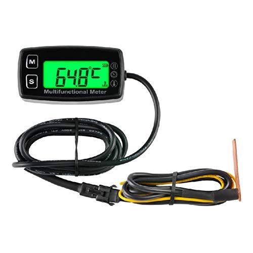 Runleader Medidor de Temperatura del Motor, medidor de Horas y tacómetro, batería reemplazable para Tractor de jardín, generador fueraborda Marina Motocicleta Moto de Nieve compresor.