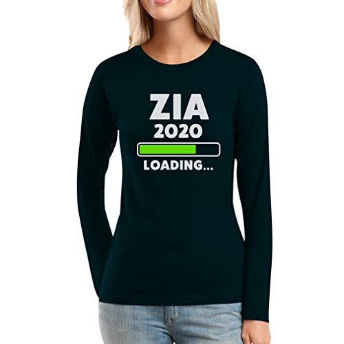 Zia 2020 Loading Idea Regalo per Le Future zie Maglia da Donna a Maniche Lunghe Small Nero