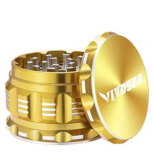 VIVOSUN 4 Pieces 2.5″ Herb Grinder Aluminium Spice Grinder with Pollen Scraper Yellow