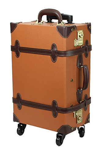 MOIERG Trolley Luggage Vintage suitcase with TSA Lock[81-55037-72] (Medium, Camel)