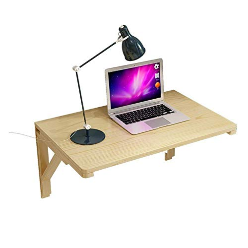 Hangende opbergtafel bureau, laptopstandaard, bureau, inklapbare eettafel, salontafel, 2 houders, multi-size optioneel houtkleur 80 x 50 cm 80 x 50 cm houtkleur.