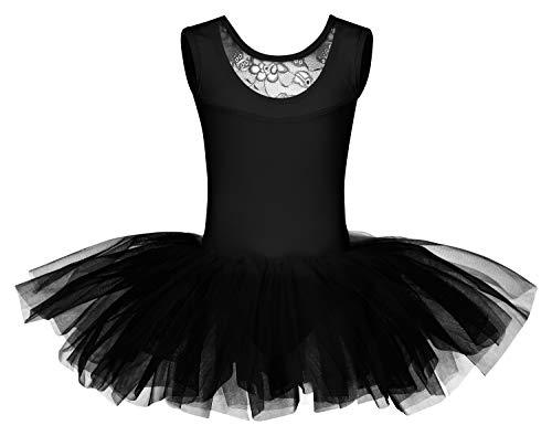 tanzmuster ® Ballettkleid Mädchen Tutu - Lottie - aus weichem Baumwollmaterial mit Spitzeneinsatz vorn und Tuturock Trikot fürs Kinder Ballett in schwarz, Größe:140/146