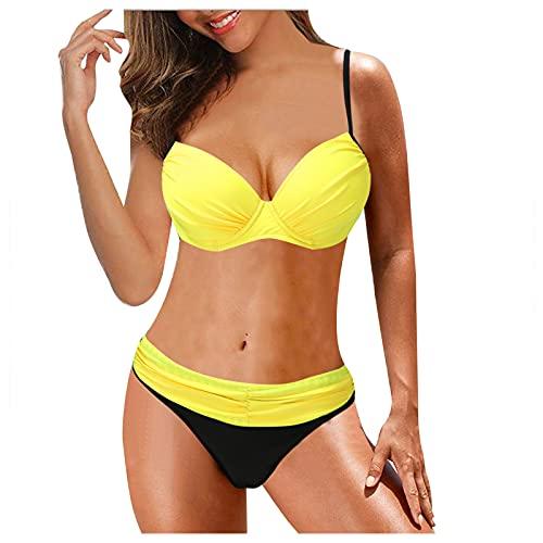BIBOKAOKE Bikini push-up para mujer, traje de baño de cintura alta, dos piezas, bandeau, con tirantes ajustables, traje de baño con braguitas, Amarillo 34., L