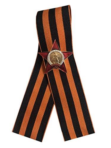 Preisvergleich Produktbild St. George Band 9. Mai WW2 Russischer Tag des Sieges - Ordnung des roten Sterns Miniatur Anstecknadel