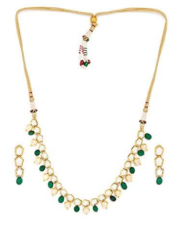 Traditionelles Kundan-Hochzeits-Halsketten-Set, indische Brautkleidung, Goldton, Halskette und Ohrringe für Frauen