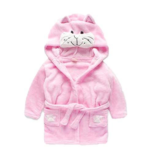 Accappatoio unisex per bambini e ragazze, 0-24 mesi, morbido pile di flanella, con cappuccio, accappatoio per bambini e neonati, rosa gatto 12-18 mesi