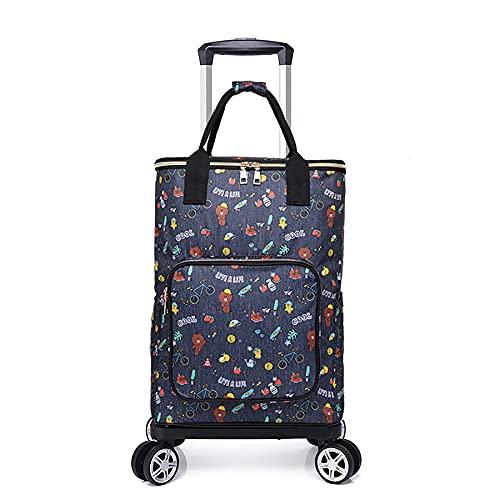 Xooz Carrito de Compras Plegable, Escalera de la Escalera Carro de comestibles Carro de comestibles Metal Utility Trolley con la Bolsa de Enfriador de Camping para Las Mujeres Playa Picnic,Style 5