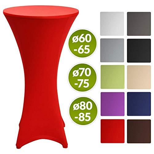 Beautissu Stretch Stehtisch Husse Stella für Bistrotisch Ø 60-65 cm Elegante Stretch-Husse Rot als Tisch-Überzug in div. Farben & Größen