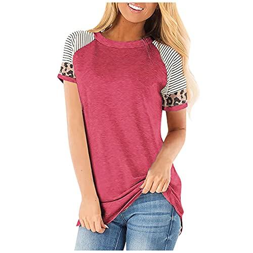 WHZXYDN T-Shirt à Manches Courtes Imprimé LéOpard Rayé à Col Rond pour Femmes D'éTé