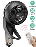 Wall Mount Fan with Remote Control, 360° Oscillation Air Circulator Fan, Adjustable Body, 3 Speeds, Setting Shut-Down Timer 1-7H, 3 Working Modes, 78.7 Inch Power Cord, Quiet Fan, for Home Indoor