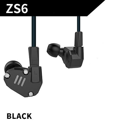 KZ ZS6 Ocho Auriculares para Conductor 2DD + 2BA Armadura Dinámica de Alta Fidelidad en el Oído HiFi Auriculares Estéreo Deportivos con 2 Pines Cable de Repuesto Auriculares (ZS6 Black Without Mic)