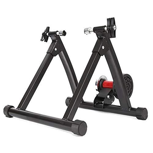 Soporte para entrenador de bicicleta, resistencia ajustable mejorada Entrenadores de bicicleta de ejercicio de acero para interiores con resistencia de 5 niveles para bicicleta de montaña y carretera