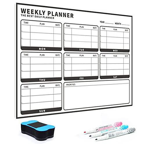 YUEQI Magnetic Calendar,Whiteboard Planner,Monthly Planner Whiteboard,Premium Whiteboard Calendar,Fridge Calendar,Weekly Planner,Including 1 Schedule +3 Pens + Eraser