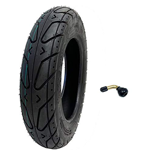 MMG Scooter Tubeless Tire 3.50-10 Front Rear Motorcycle Moped (Metric 100/90-10) Rim 10 inches, INCLUDES TR87 90 grades Bent Metal Valve Stem