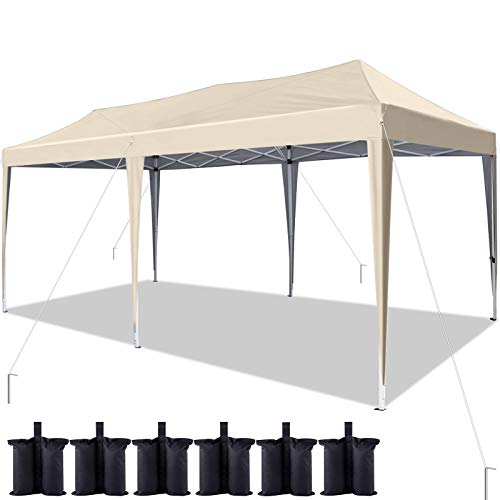 Quictent 10x20 ft Ez Pop up Canopy Tent Instant Shelter Party Tent Outdoor Event Gazebo Waterproof with 6 Sand Bags (Beige)