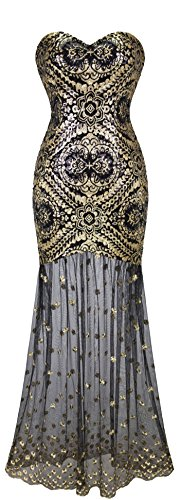 Angel-fashions Damen Armelloses V-Ausschnitt Pailletten Lace Up Zuruck Abendkleid Medium