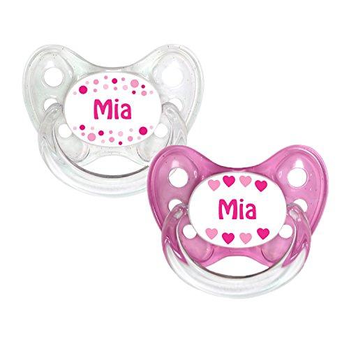 Dentistar® Silikon Schnuller 2er Set inkl. 2 Schutzkappen - Nuckel Größe 2-6 -14 Monate - zahnfreundlich & kiefergerecht - Beruhigungssauger für Babys - Made in Germany - BPA frei - Mia