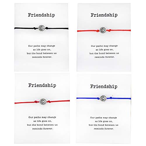 Pipitree Friendship Bracelet Party Jewelry Life Tree Charm Bracelet for Best Friends Red String Braided Wish Card Bracelet(4Pcs)