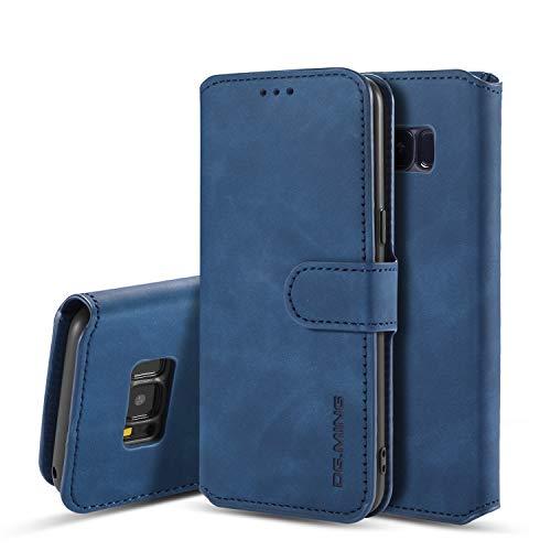 UEEBAI Handyhülle für Samsung Galaxy S7 Edge, Hülle Retro Premium PU Leder Weich TPU Klapphülle [Magnetverschluss] Kartenfach Standfunktion Anti Kratzern Flip Wallet Trageband Schutzhülle - Blau