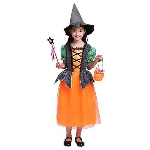 Julhold Disfraz de Halloween para niñas de bruja de mago para cosplay, disfraz de fiesta (naranja (vestido + sombrero + varita mágica + bolsa de tax), 10-11 años)