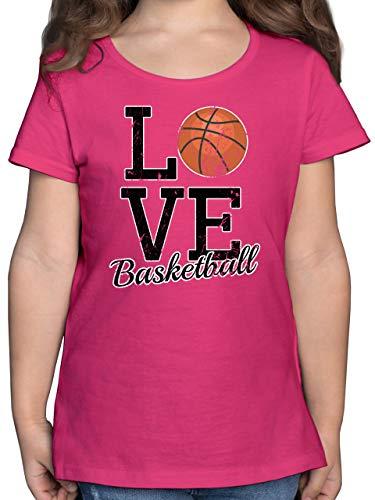Sport Kind - Love Basketball - 164 (14/15 Jahre) - Fuchsia - t-Shirt Jugendliche mädchen - F131K - Mädchen Kinder T-Shirt