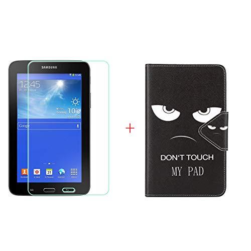 """szjckj Protector de Pantalla + PU Carcasa para Samsung Galaxy Tab 3 Lite (7,0"""") Tablet, Funda Protectora con Función de Soporte - HD Cristal Vidrio Templado Protector - LW40"""