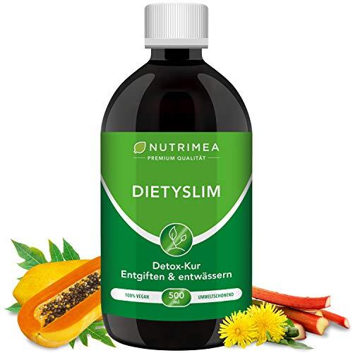 DETOX-Kur DietySlim 100% Vegan | Natürlich Leber & Körper entgiften & Abnehmen | 6 Wöchige Entgiftungskur | Entgiften, Entschlacken, Entwässern Reinigung Flüssig 500ml Grüner Tee Guarana Diät
