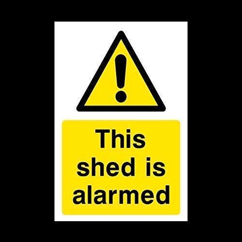 JULYCC This Shed Is Alarmed Sticker Sign - Security, Camera, Closed Circuit Tv Metal Tin Sign Wall Decor Retro Fashion Chic Funny For Bar Cafe Garage Home Outdoor Courtyard 8x12 Inch