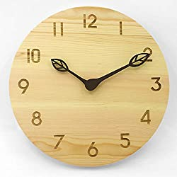 AROMUSTIME 10 Inches Round Wood Wall Clock with Laser Engraved Arabic Numerals, Whisper Quiet, Wood Pointer&No Glass Cover, for Office Kitchen Bedroom Classroom&Living Room, Nature
