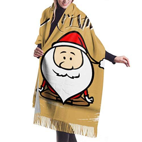 Lawenp 27 'x77' Bufanda de abrigo para mujer Papá Noel haciendo yoga Bufanda de abrigo para mujer Bufanda de diseñador Elegante Manta grande y cálida
