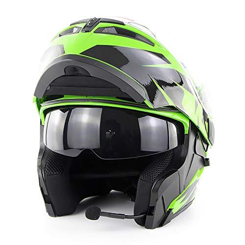 AA100 Motocross-Doppel-Objektiv offene Gesichtshelm hoher Qualität Bluetooth-Headset Männer und Frauen Sicherheitshelm soman955 Bluetooth Helm,Green,S