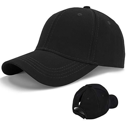 LIVACASA 1 Pezzo Cappello da Baseball Donna Berretto con Visiera Estivo Traspirante Regolabile per Sport Esterno 56-61CM Nero