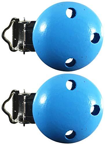 Schnullerclip Farbe Menge Auswahl Holz schadstofffrei Nuckelclip Baby Clip, Farbe:hellblau, Anzahl:2 Schnullerclips