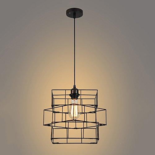 ZHUO Lámparas de hierro creativas, Nordic LED Geométrico Negro Rejilla Decorativa Araña Lámparas de techo Retro Tienda de ropa Estudio de barra Pequeño colgante de luz