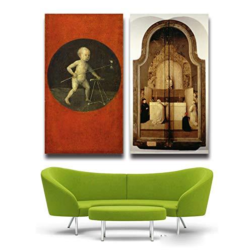 The Garden Of Earthly Delights Hieronymus Bosch Artwork Schilderij Poster Decor Decoratie in de woonkamer keuken kantoor entertainment -50x90cm x2pcs Geen frame