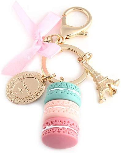ANNIUP Macaron Schlüsselanhänger Eiffelturm Schleife Auto Schlüsselanhänger Tasche Geldbörse Anhänger Dessert Candy Schlüsselanhänger Dekoration für Kinder Geburtstag