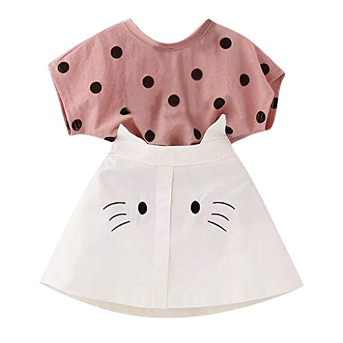 VEFSU Toddler Kid Baby Girl Outfits Short Clothes Dot Print T-Shirt+Cat Embroidery Mini Skirt Set Pink 3-4 Years