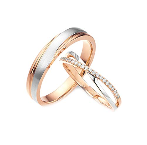 Daesar 18K Rose Gold Rings Women and Men Unique Engagement Ring Set Cross Ring Diamond Rings for Women and Men Rose Gold Ring Women Size N 1/2 & Men Size N 1/2