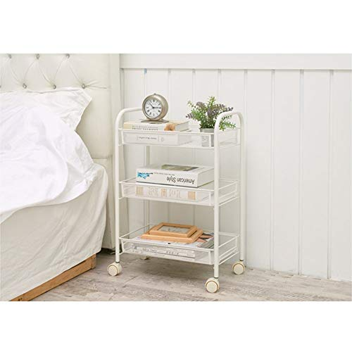 Metal Service Trolley, Kitchen Organizer, Multi-purpose Trolley With Basket, Storage Rack, Trolley, Kitchen Universal Shelf, For Kitchen, Office, Garden (Color : White, Size : Three layers)