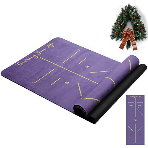 GOLDEN® Yogamatte rutschfest aus Kautschuk schadstofffrei XL groß 4mm Dicke 183cm Länge 68cm Breite Align Recycelbare Guter Halt bei viel Schweiß Handtuch Matte