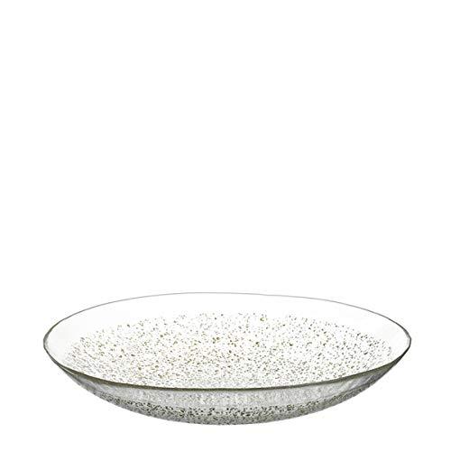 LEONARDO - Aurora/Goldkrösel - Schale/Servierschale - Glas - Klar/Gold - (HxBxT) 7,3 x 40 x 40 cm