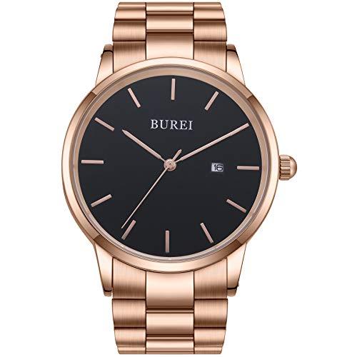 BUREI Uhren Quarz Herren Armbanduhren Minimalistische Uhr Herren Analog Wasserdicht Armbanduhr Roségold