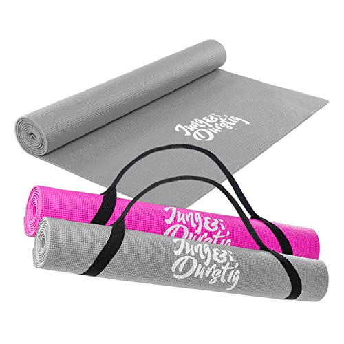 Jung & Durstig 2in1 Yogamatte gepolstert & rutschfest | Gymnastikmatte in Grau | Maße 173 x 61 cm