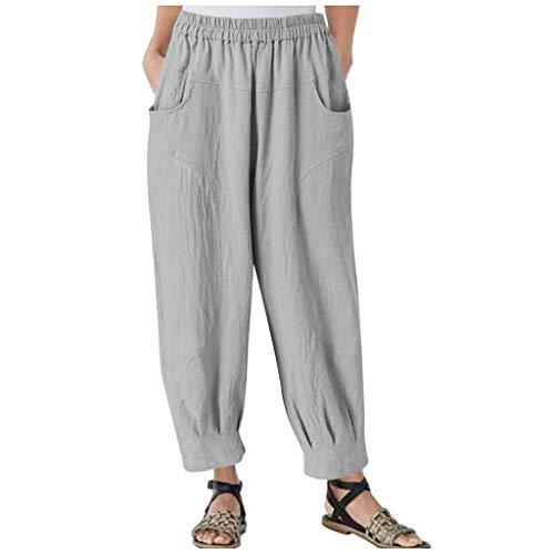 FNKDOR Haremshose Damen 7/8 Hosen Lockere Hosen Weite Hose mit Gummizug und Taschen Grau 3XL